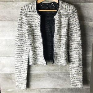 H&M boucle long sleeve knit leather trim blazer